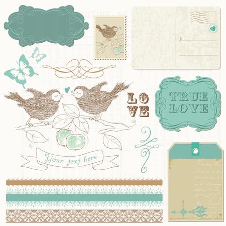 nido de pajaros: Los elementos de diseño del libro de recuerdos - Aves en el amor