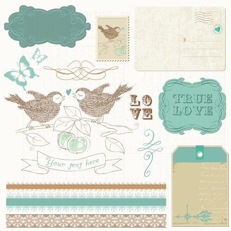 Scrapbook design elements - Birds in love Vector