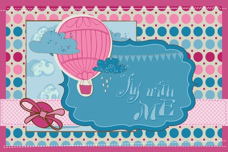 Scrapbook Invitation Card - Party, Balloons and Parachute Vector