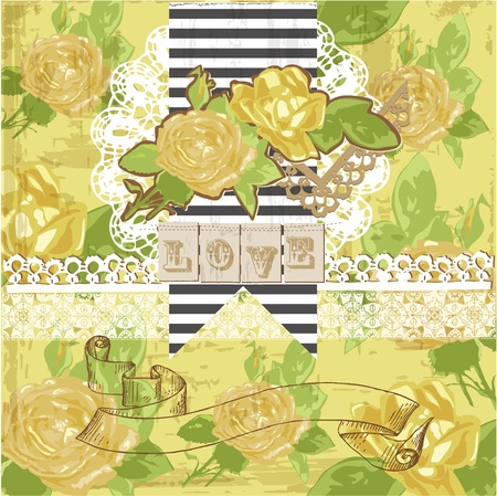 gele rozen: Vintage Scrapbook Design Elements - Gele rozen in vector