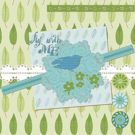 Floral Scrapbook Design Elements with Birds in vector Stock Vector - 11889665