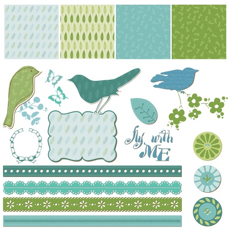 baby stickers: Floral Scrapbook Design Elements with Birds in vector Illustration