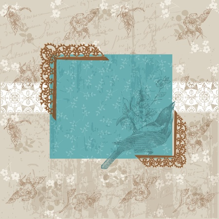 Vintage Floral Card with Bird - for invitation, congratulation in vector Vector
