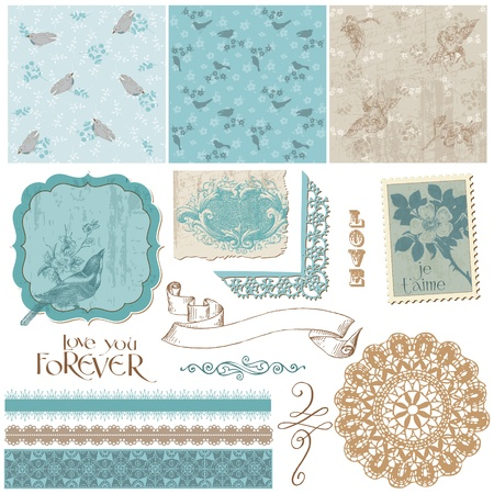 blue bird: Scrapbook Design Elements - Vintage Birds and Flowers