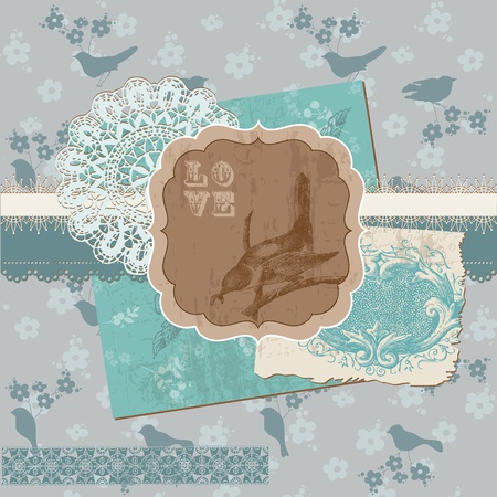 Scrapbook Design Elements - Vintage Birds and Flowers Vector