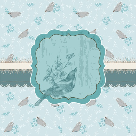 scrap paper: Beautiful Floral Card with Bird and place for your text or photo  in vector