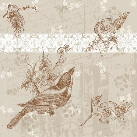 Tarjeta de flores con el pájaro en el vector Ilustración de vector