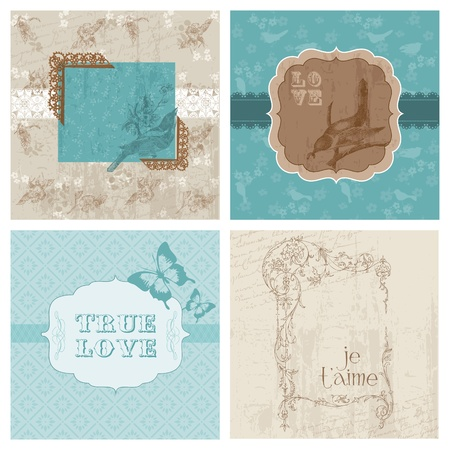 Set of Floral Retro Cards - with frames and place for your text or photo in vector Vector