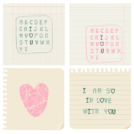 Set of hand-written LOVE CARDS in vector Vector
