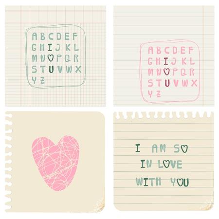 hand written: Set of hand-written LOVE CARDS in vector