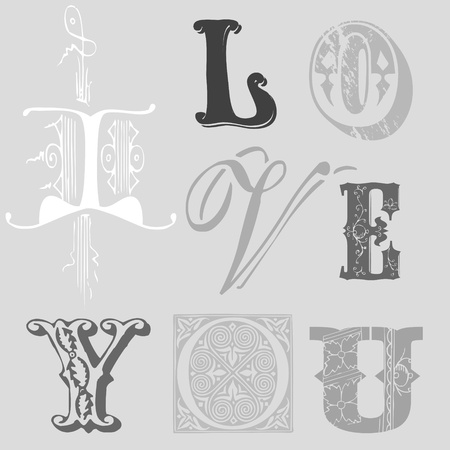 Vintage Letters  Vector