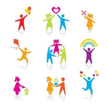 niños felices: Set de iconos - Silueta de la familia. mujer, hombre, niño, niño, niño, niña, padre, madre, símbolo de los padres. Las personas vector.