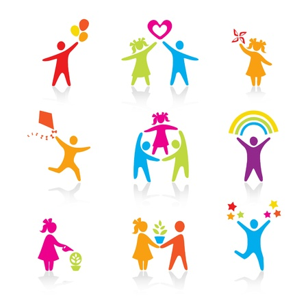 happy kids: Set of Icons - Silhouette family. woman, man, kid, child, boy, girl, father, mother, parents symbol. People vector.