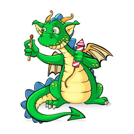 Funnyl green dragon holding fireworks - in vector Vector