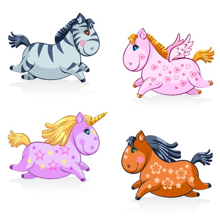 pony tail: Great Set of Cute Magic Horses and Unicorns - in vector Illustration