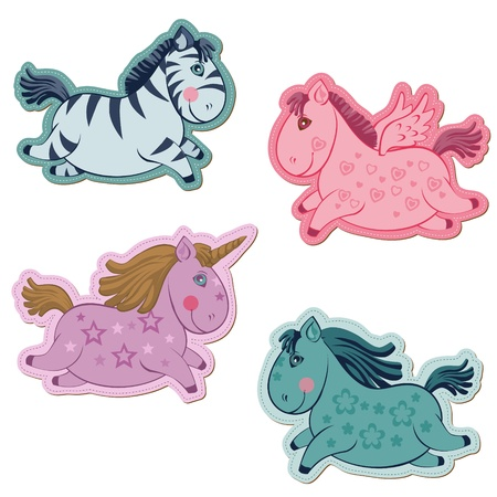 Set of Magic Horses and Unicorns - for scrapbook and design in vector Vector