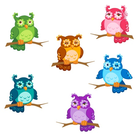 owlet: Set of cute six cartoon owls with various emotions in vector