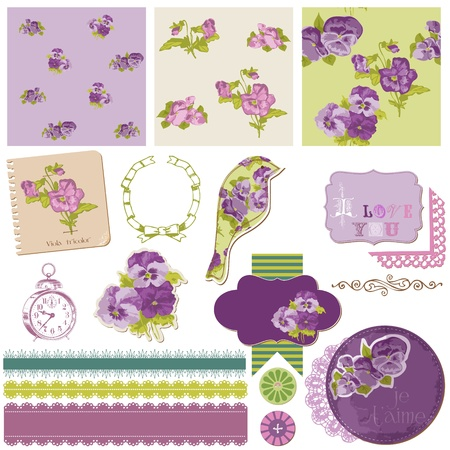 스크랩북 디자인 요소 - 빈티지 꽃