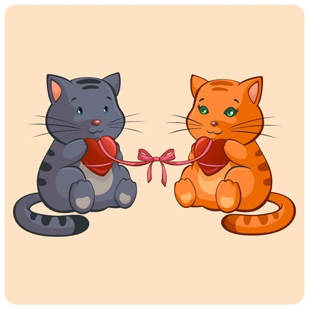 young relationship: Romantic Two cats in Love - Funny illustration