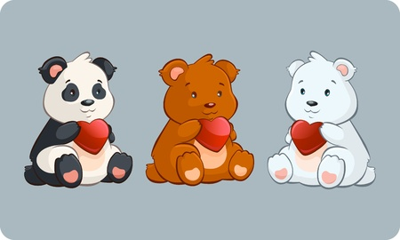 two animals: Little Bears holding Hearts - valentine day illustration Illustration
