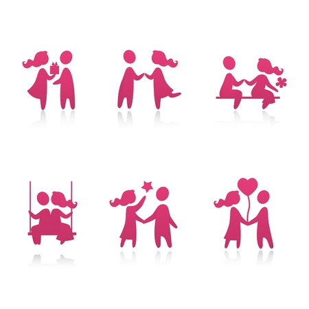 swing set: Set of icons - Couple in love