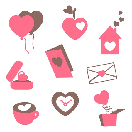 Love icons - for valentine cards, invitation, wedding, engagement, greetings Vector
