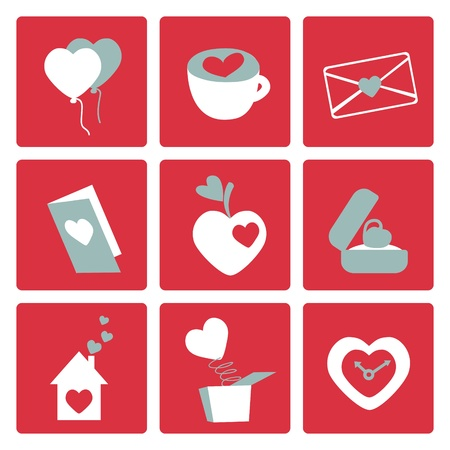 Love icons - for valentine cards, invitation, wedding, engagement, greetings Stock Vector - 11975035