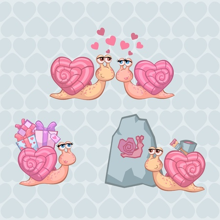 Valentine's Day Illustration Set with Funny Snails - for your postcard, design, scrapbook Stock Vector - 11975043