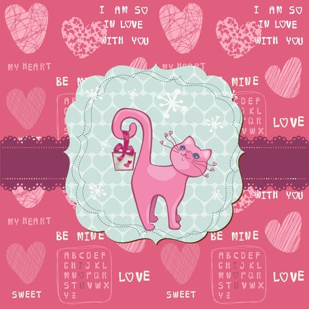Cute Love Card with Cat - for valentines day, greetings, scrapbook Vector