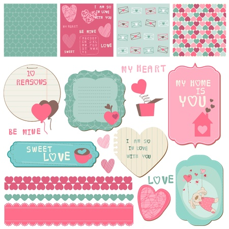scrapbook cover: Scrapbook Design Elements - Love Set - for cards, invitation, greetings Illustration