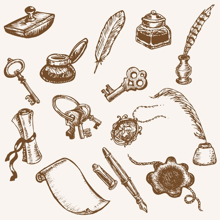 quill pen: Set of Hand Drawn Vintage Elements - Vintage Letter Set Illustration