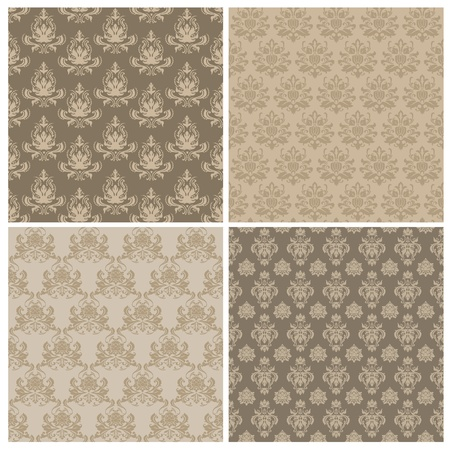 Set of Seamless Damask Wallpaper Patterns  Stock Vector - 11975079