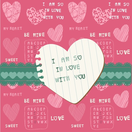 Cute Love Card - for Valentines day, scrapbooking  Vector