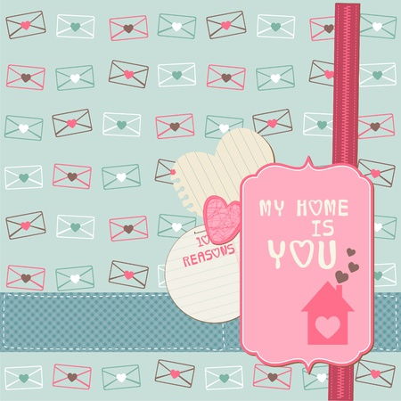 Cute Love Card - for Valentine's day, scrapbooking   Vector