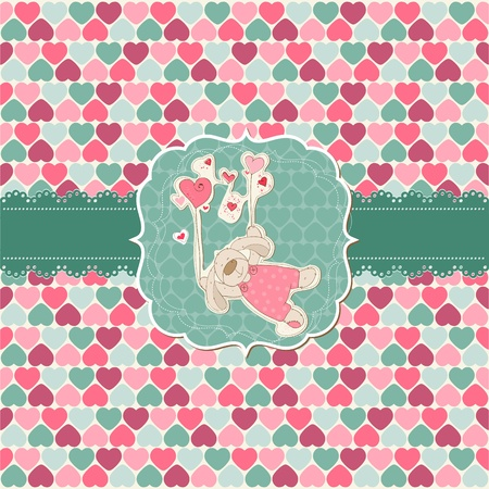 Cute Love Card - for Valentines day, scrapbooking  Illustration
