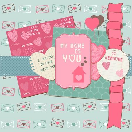 scrapbook paper: Scrapbook Design Elements - Love Set - for cards, invitation, greetings