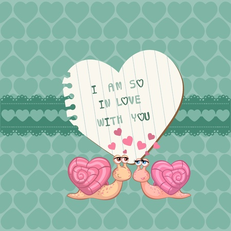 kiss: Cute Love Card - for Valentines day, scrapbooking  Illustration