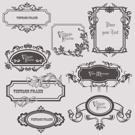 결혼식: 과 자리를 텍스트 - 빈티지 프레임 및 디자인 요소 일러스트