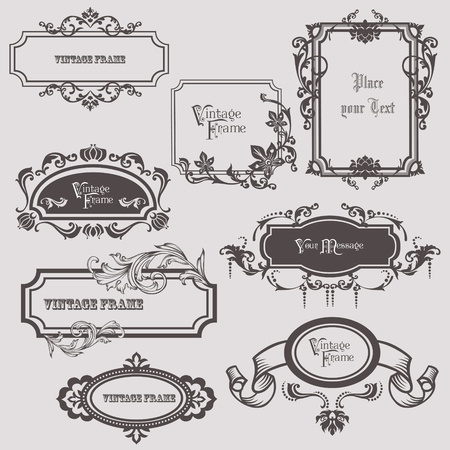 wedding card design: Vintage frames and design elements - with place for your text