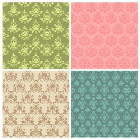 Set of Seamless Colorful Damask Wallpaper Patterns Stock Vector - 12056512