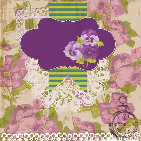 Vintage Scrapbook Design Elements - Viola flowers Vector