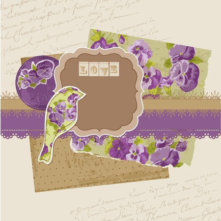 Scrapbook Design Elements - Vintage Viola Flowers  Vector