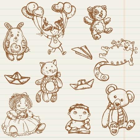 Dibujado a mano juguetes colecci�n Vectores