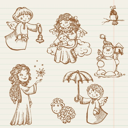 Hand drawn collection of Angels and Christmas doodles in vector Vector
