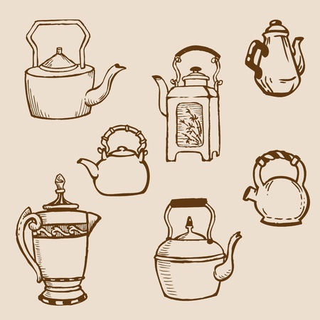 tea set: Set of Teapot Doodles