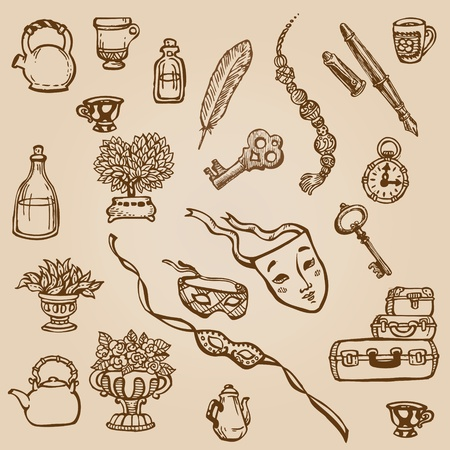 Set of Hand Drawn Various Vintage Elements - for design and scrapbook in vector Vector