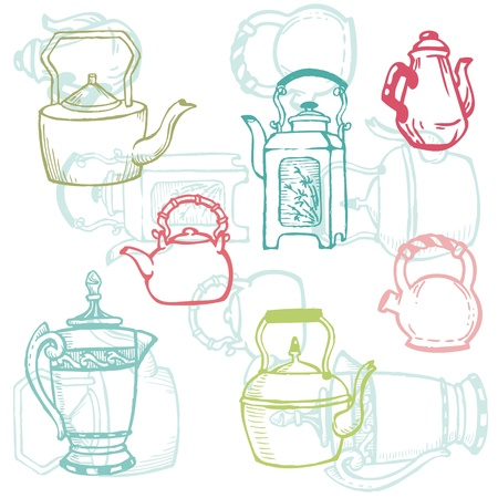 Beautiful Background of Teapot Doodles Vector