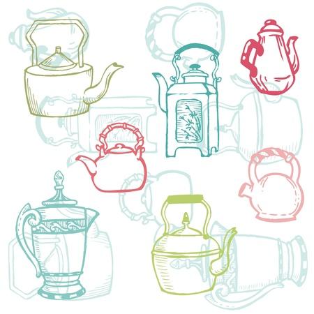 tearoom: Beautiful Background of Teapot Doodles