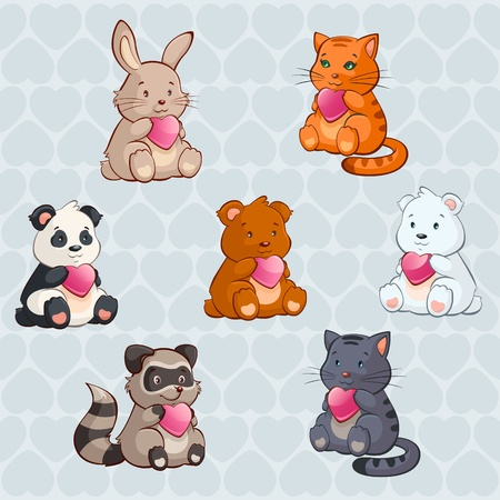 Cute Baby Animals holding Hearts - valentine day illustration  Vector