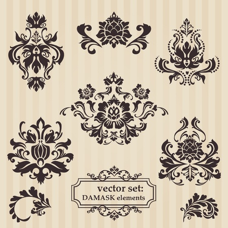 Set of ornamental DAMASK illustrations - for your design, invitation, greetings Vector